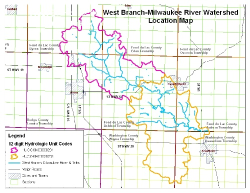 West Branch Watershed Location Map