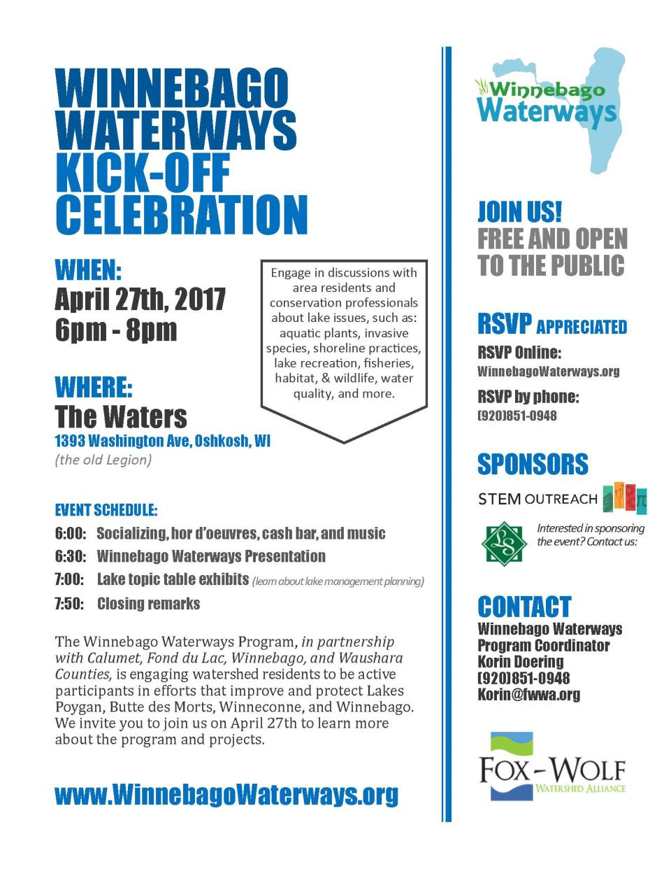 Winnebago Waterways Kick Off poster 2017