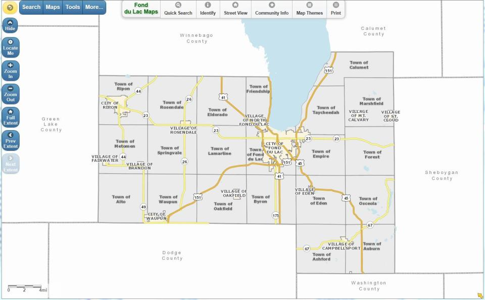 Fond Du Lac Zip Code Map.Online Maps Fond Du Lac County